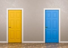 Two Closed Doors with Different Color in Front in the Room 3D Illustration, Choice Concept